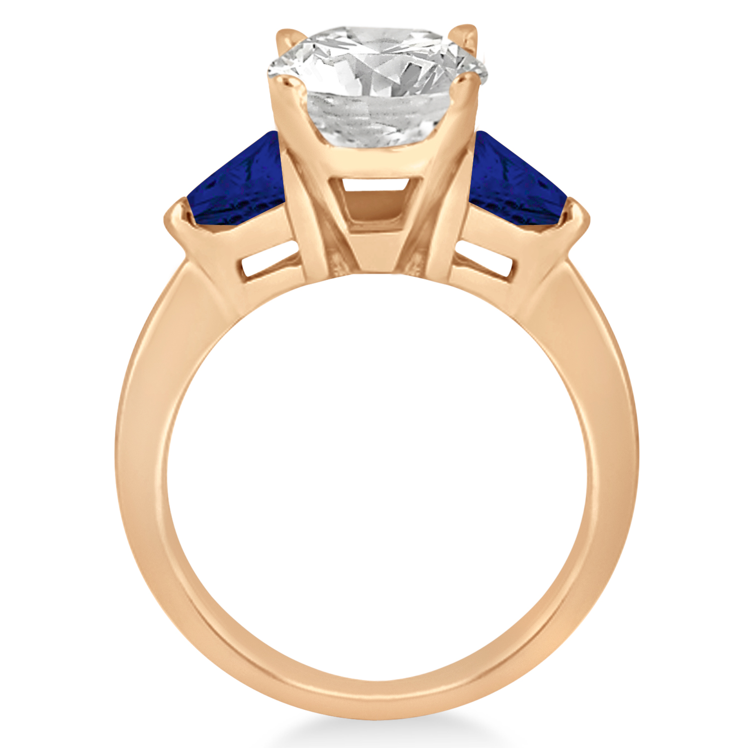 Blue Sapphire Three Stone Trilliant Engagement Ring 14k Rose Gold 0 70ct