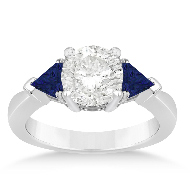 Blue Sapphire Three Stone Trilliant Engagement Ring 14k White Gold (0.70ct)