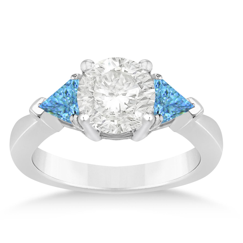 Blue Topaz Three Stone Trilliant Engagement Ring 14k White Gold (0.70ct)