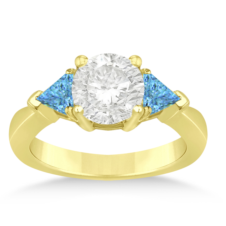 Blue Topaz Three Stone Trilliant Engagement Ring 14k Yellow Gold (0.70ct)
