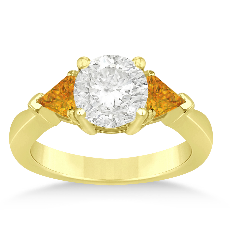 Citrine Three Stone Trilliant Engagement Ring 18k Yellow Gold (0.70ct)