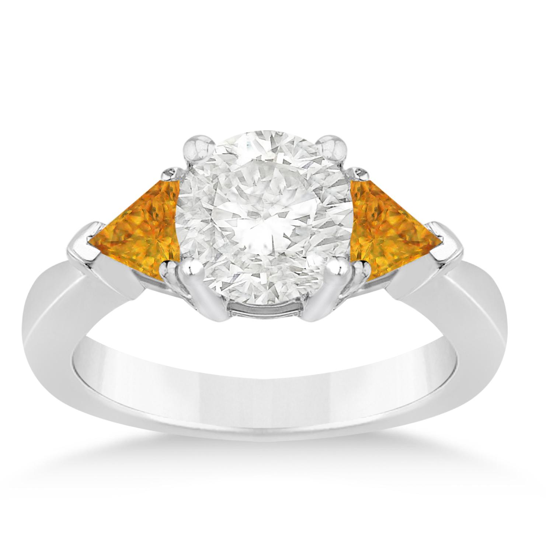 Citrine Three Stone Trilliant Engagement Ring Platinum (0.70ct)