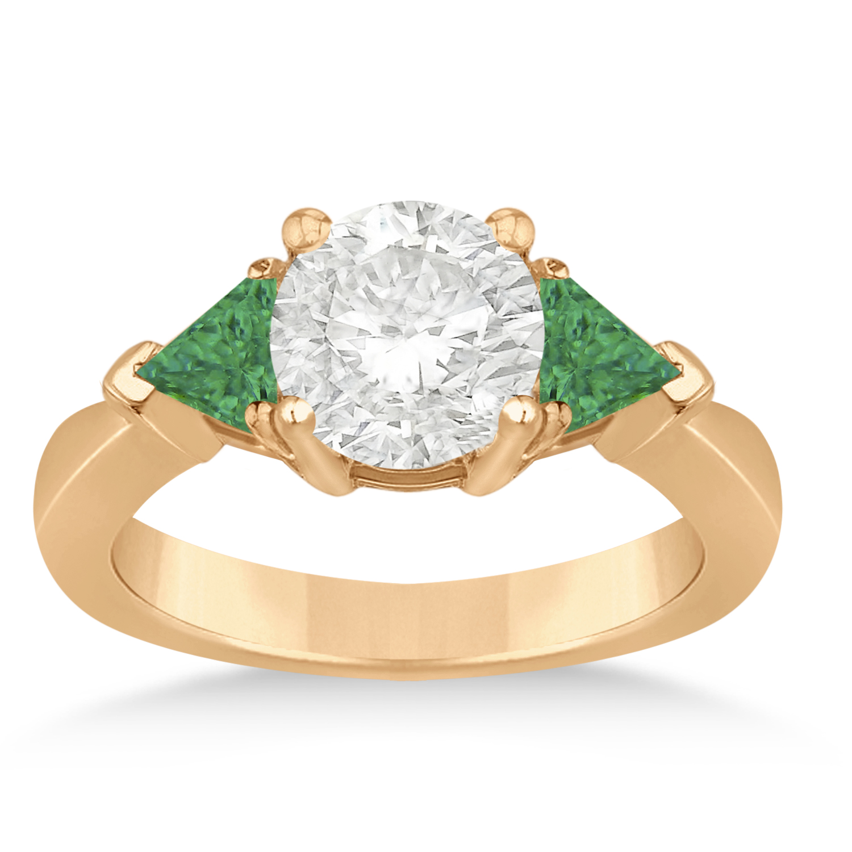 Emerald Three Stone Trilliant Engagement Ring 14k Rose Gold (0.70ct)