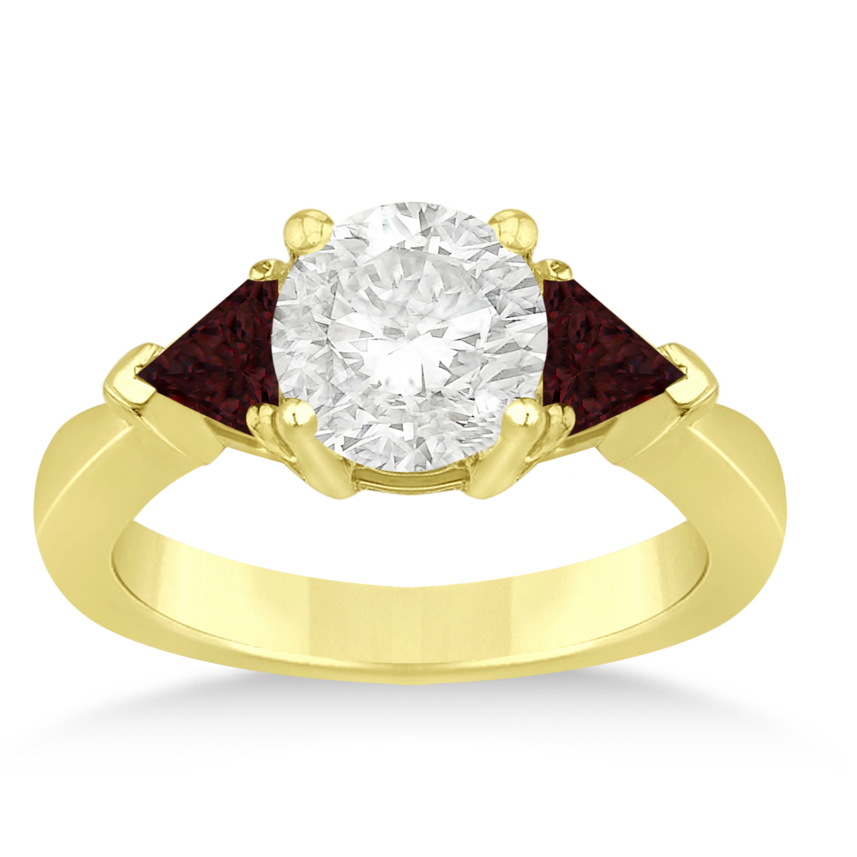 Garnet Three Stone Trilliant Engagement Ring 14k Yellow Gold (0.70ct)