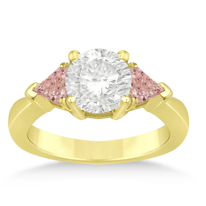 Morganite Three Stone Trilliant Engagement Ring 14k Yellow Gold (0.70ct)