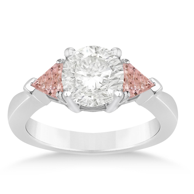 Morganite Three Stone Trilliant Engagement Ring Platinum (0.70ct)