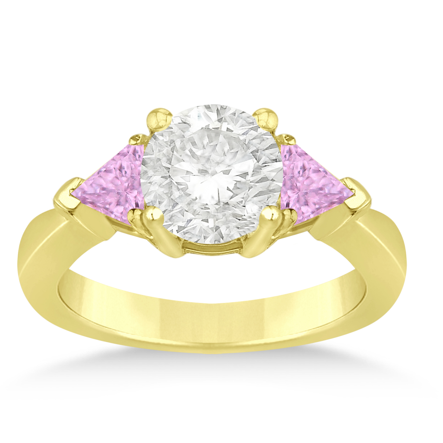 Pink Sapphire Three Stone Trilliant Engagement Ring 18k Yellow Gold (0.70ct)