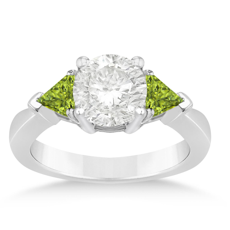 Peridot Three Stone Trilliant Engagement Ring 14k White Gold (0.70ct)