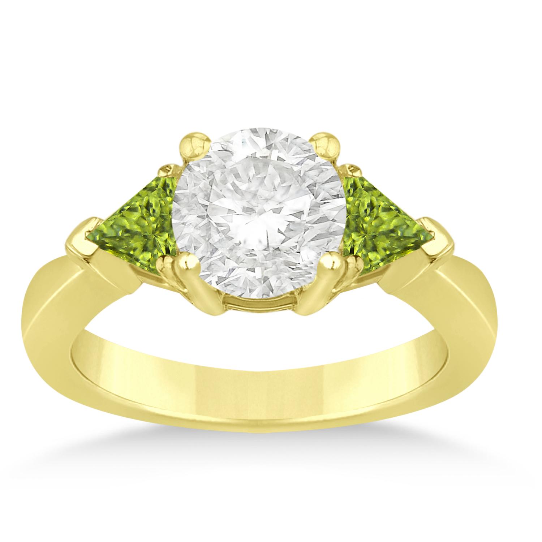 Peridot Three Stone Trilliant Engagement Ring 14k Yellow