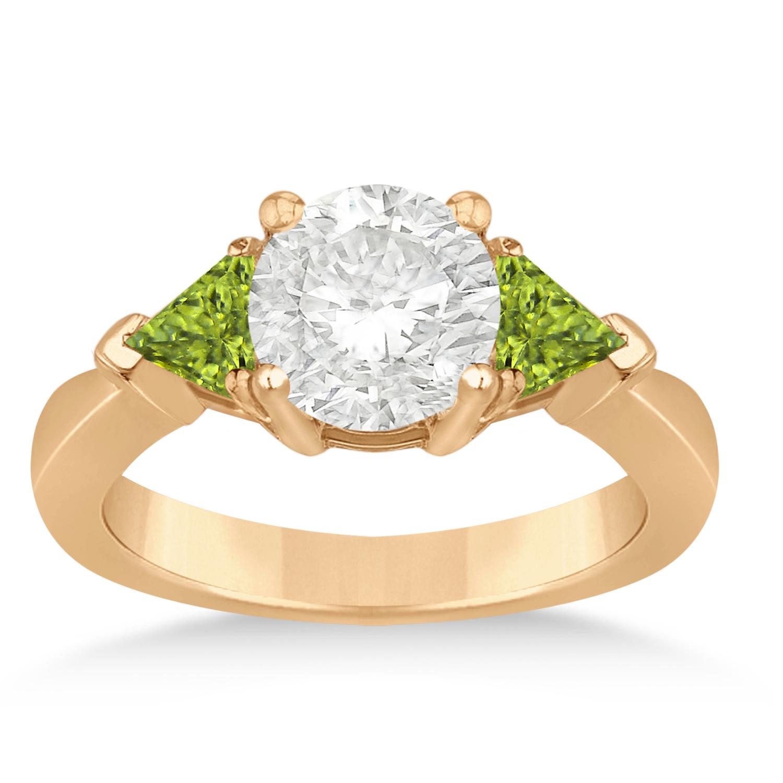 Peridot Three Stone Trilliant Engagement Ring 18k Rose Gold (0.70ct)