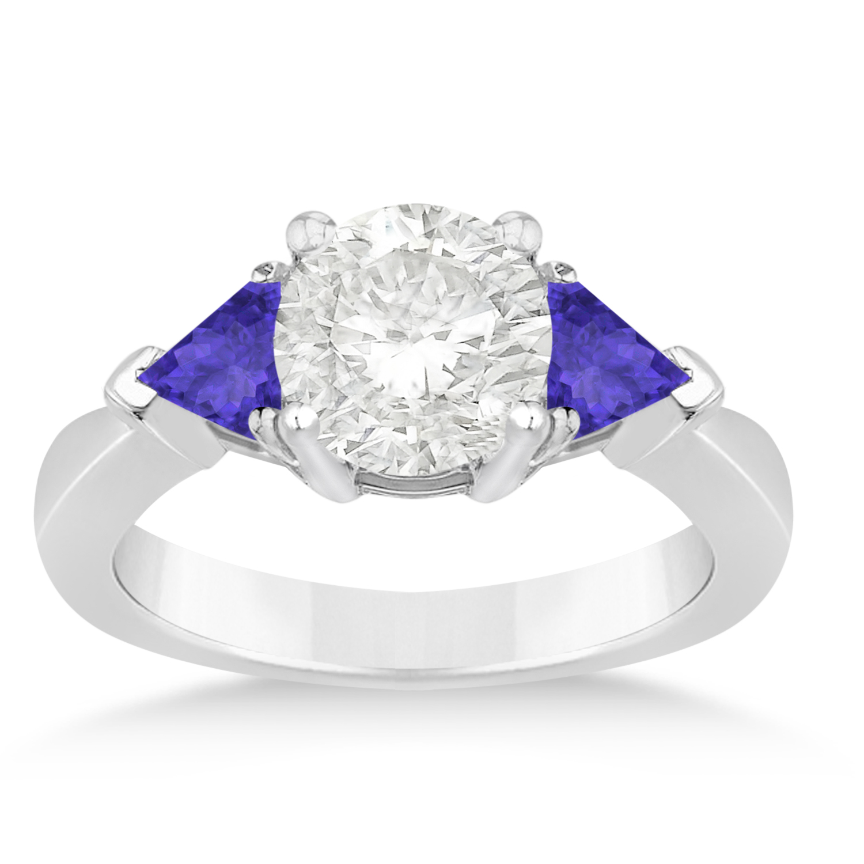 Tanzanite Three Stone Trilliant Engagement Ring 14k White Gold (0.70ct)