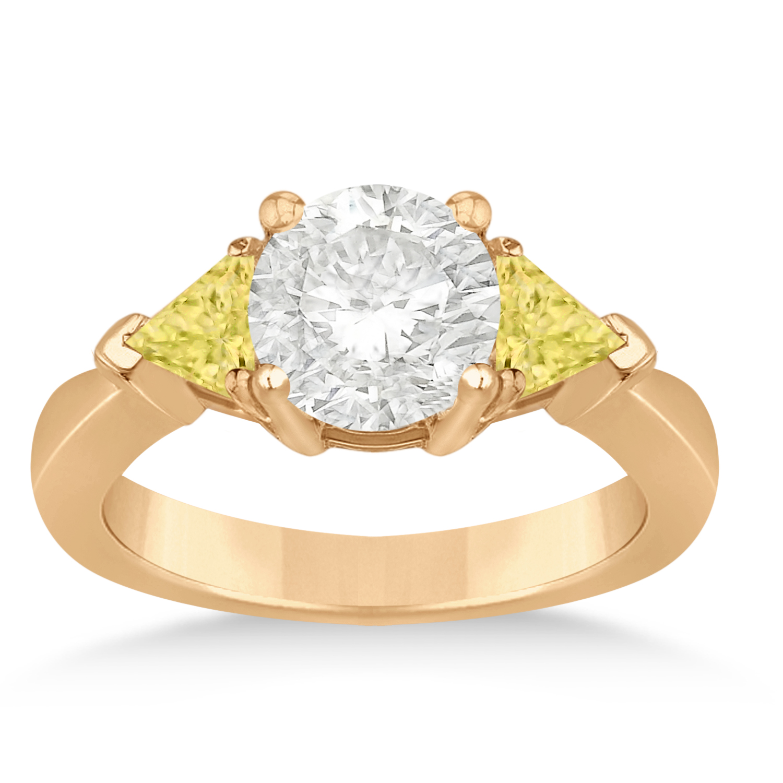 Yellow Diamond Three Stone Trilliant Engagement Ring 14k Rose Gold (0.70ct)