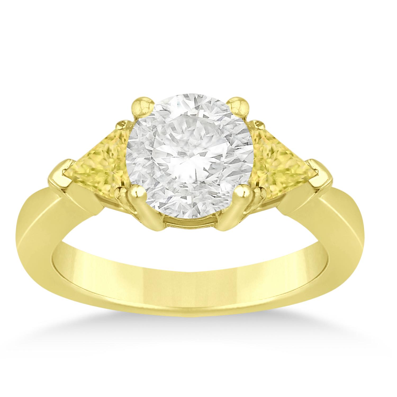 Yellow Diamond Three Stone Trilliant Engagement Ring 14k Yellow Gold (0.70ct)