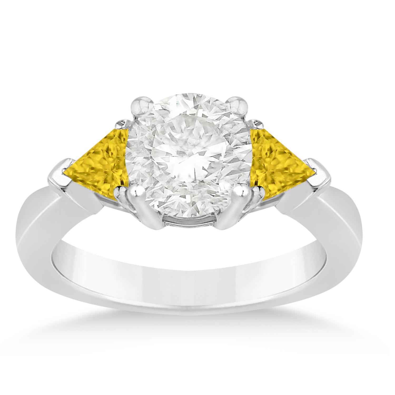 Yellow Sapphire Three Stone Trilliant Engagement Ring 14k White Gold (0.70ct)