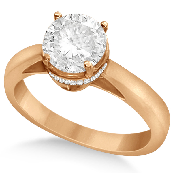 Pave-Set Diamond Accented Ring for Round Diamond 14k Rose Gold