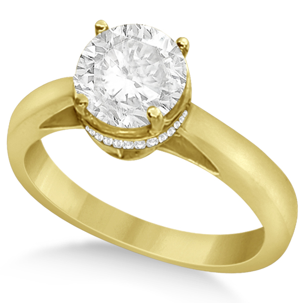 Pave-Set Diamond Accented Ring for Round Diamond 14k Yellow Gold