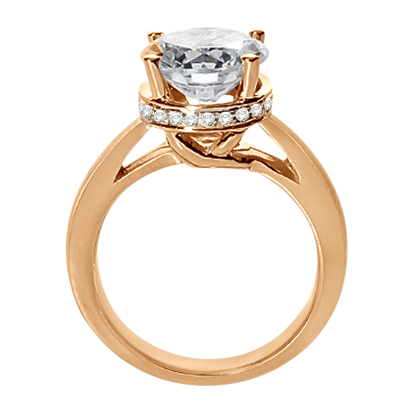 Pave-Set Diamond Accented Ring for Round Diamond 18k Rose Gold
