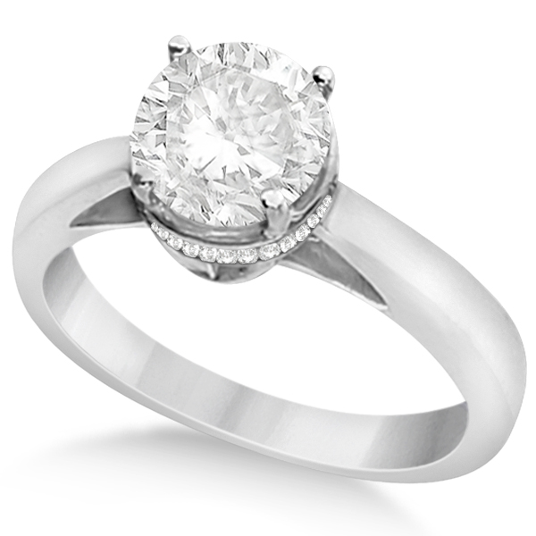 Pave-Set Diamond Accented Ring for Round Diamond 18k White Gold