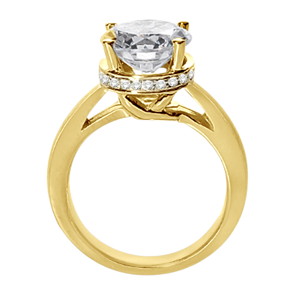 Pave-Set Diamond Accented Ring for Round Diamond 18k Yellow Gold