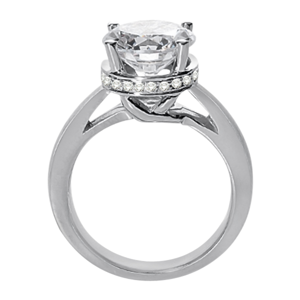 Pave-Set Diamond Accented Ring for Round Diamond in Palladium