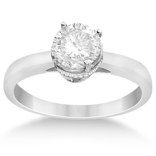 Pave-Set Diamond Accented Ring for Round Diamond in Platinum