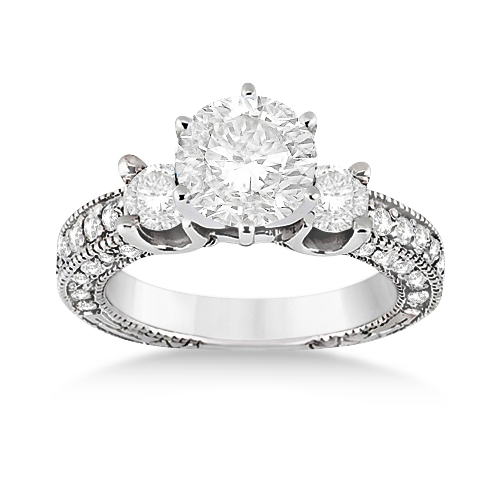 Vintage Three-Stone Diamond Engagement Ring 18k White Gold (1.00ct)
