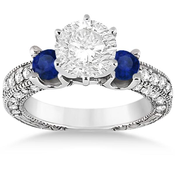 Blue Sapphire & Diamond 3-Stone Engagement Ring 14k White Gold 1.06ct