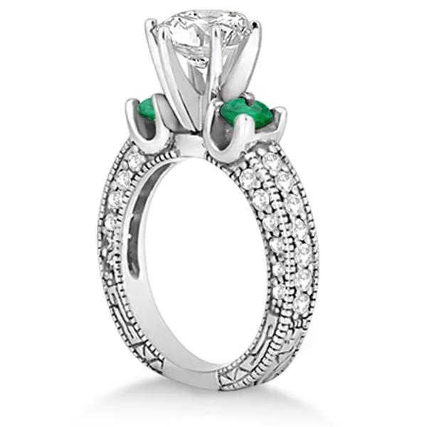 Three-Stone Emerald & Diamond Engagement Ring 14k White Gold 0.94ct
