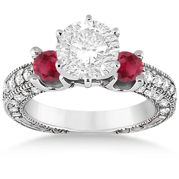 Three-Stone Ruby & Diamond Engagement Ring 14k White Gold 1.13ct