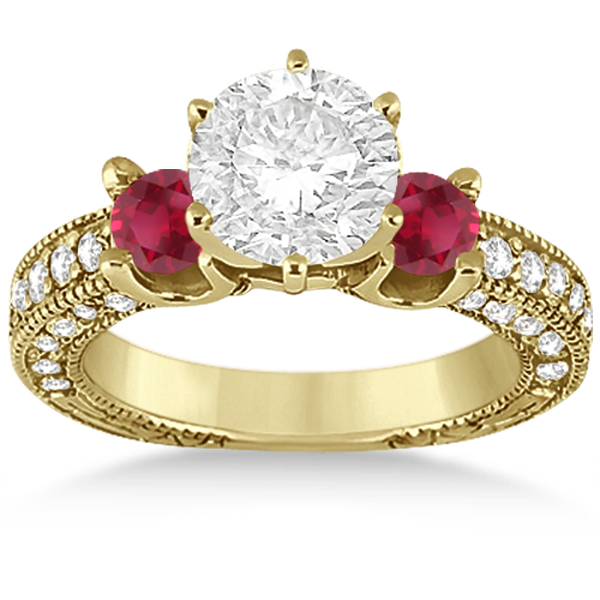 Three-Stone Ruby & Diamond Engagement Ring 14k Yellow Gold 1.13ct
