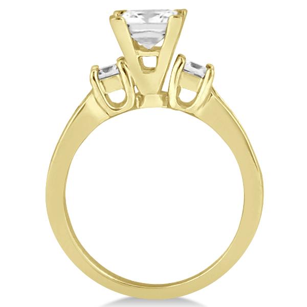 Round & Princess Cut 3 Stone Diamond Engagement Ring 14k Y. Gold 0.50ct