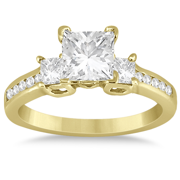 Round & Princess Cut 3 Stone Diamond Engagement Ring 18k Y. Gold 0.50ct