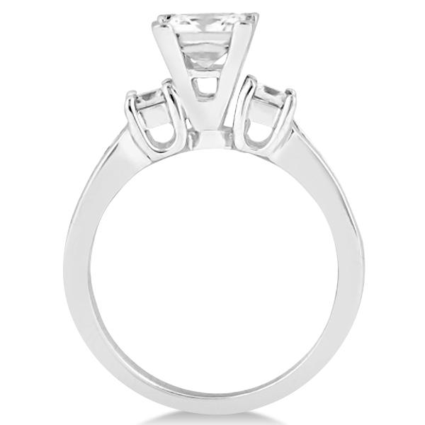 Round & Princess Cut 3 Stone Diamond Engagement Ring Palladium 0.50ct