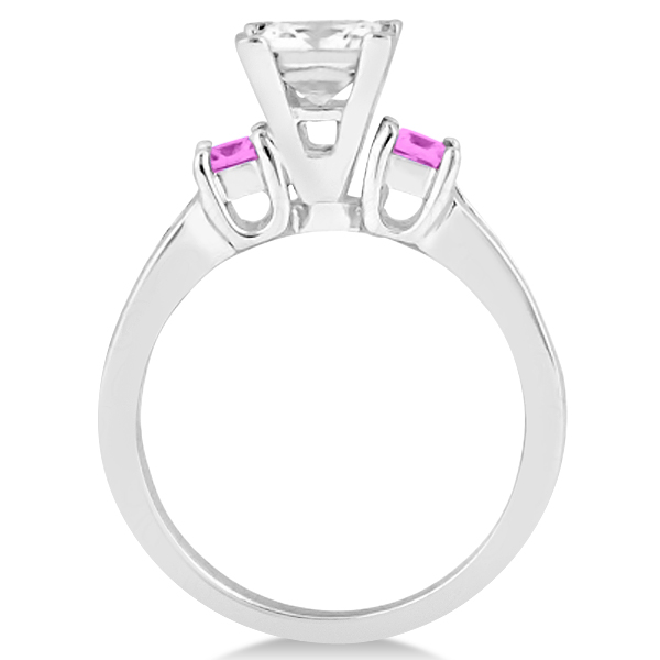 Pink Sapphire Three Stone Engagement Ring in 14k White Gold (0.62ct)