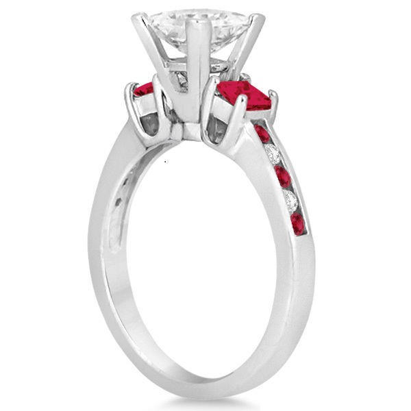 Ruby Three Stone Engagement Ring in 14k White Gold (0.62ct)