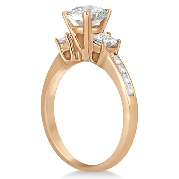 Three-Stone Princess Cut Diamond Engagement Ring 18k Rose Gold (0.64 ct)