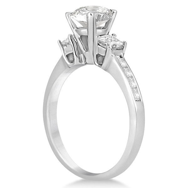 Three-Stone Princess Cut Diamond Engagement Ring 18k White Gold (0.64 ct)