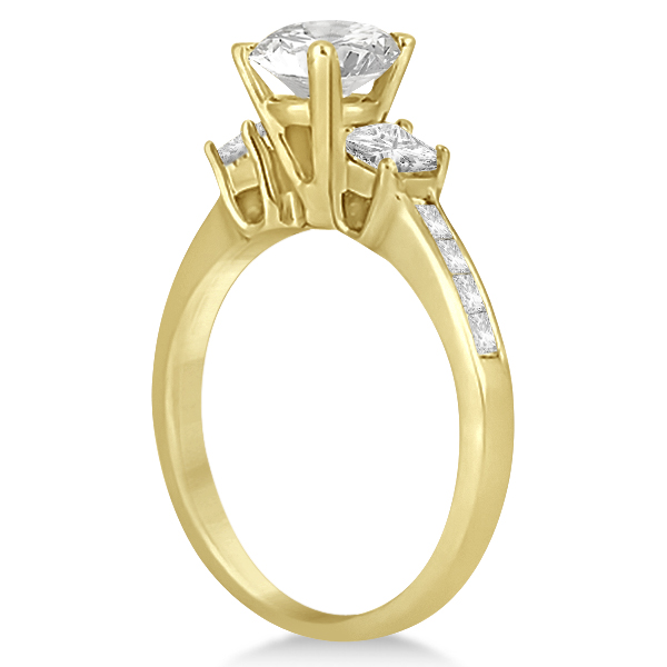 Three-Stone Princess Cut Diamond Engagement Ring 18k Yellow Gold (0.64 ct)