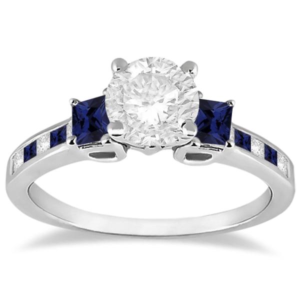 Princess Cut Diamond & Sapphire Engagement Ring 18k White Gold (0.68ct)