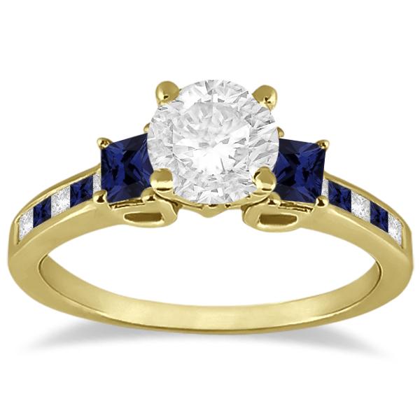 Princess Cut Diamond & Sapphire Engagement Ring 18k Yellow Gold (0.68ct)