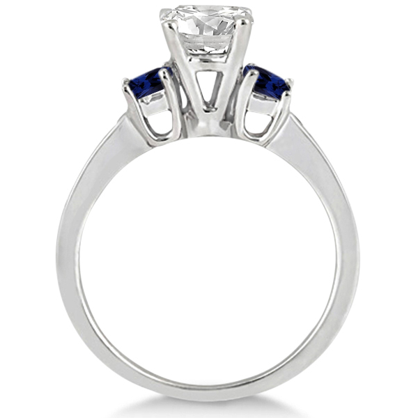 Princess Cut Diamond & Sapphire Engagement Ring Palladium (0.68ct)
