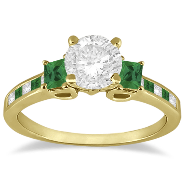 Princess Cut Diamond & Emerald Engagement Ring 14k Yellow Gold (0.68ct)