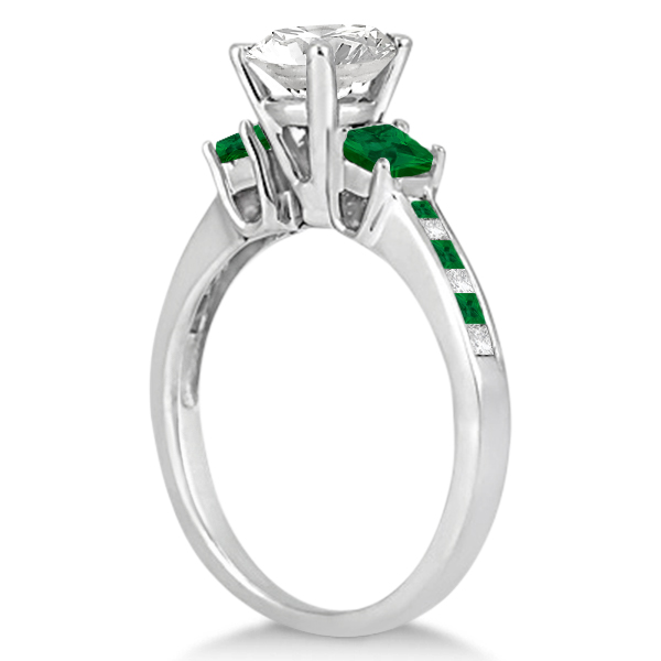 Princess Cut Diamond & Emerald Engagement Ring 18k White Gold (0.68ct)
