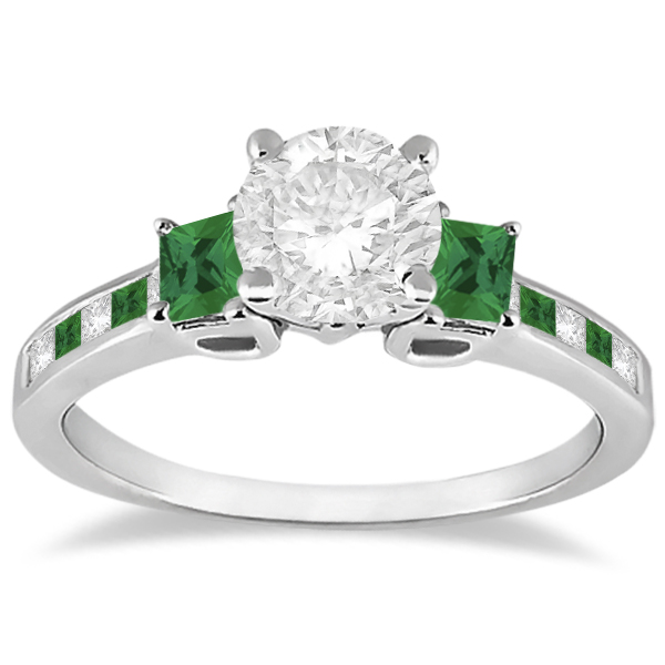Princess Cut Diamond & Emerald Engagement Ring Palladium (0.64ct)