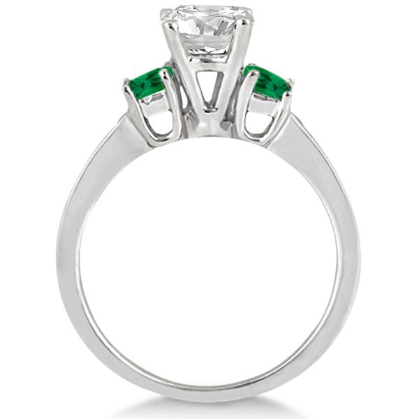 Princess Cut Diamond & Emerald Engagement Ring Platinum (0.64 ctw)