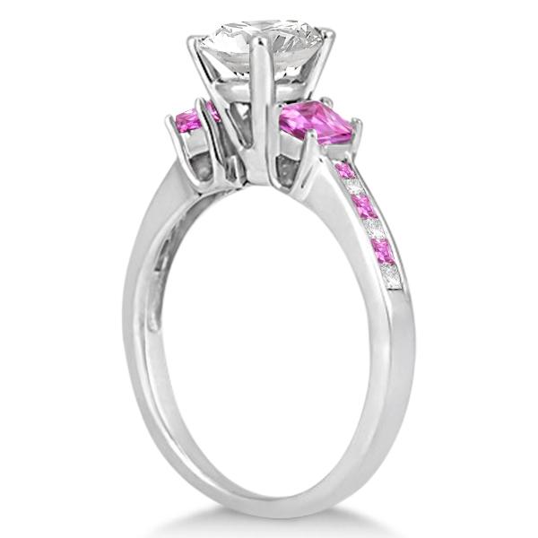 Princess Cut Diamond & Pink Sapphire Engagement Ring 14k W Gold (0.68ct)