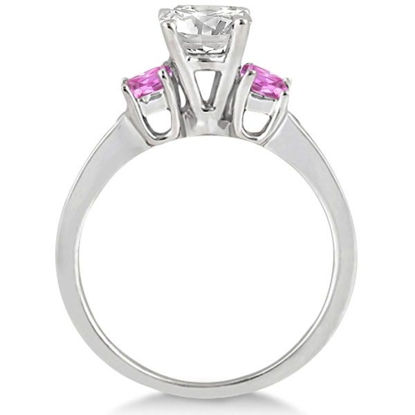 Princess Cut Diamond & Pink Sapphire Engagement Ring Platinum (0.68ct)