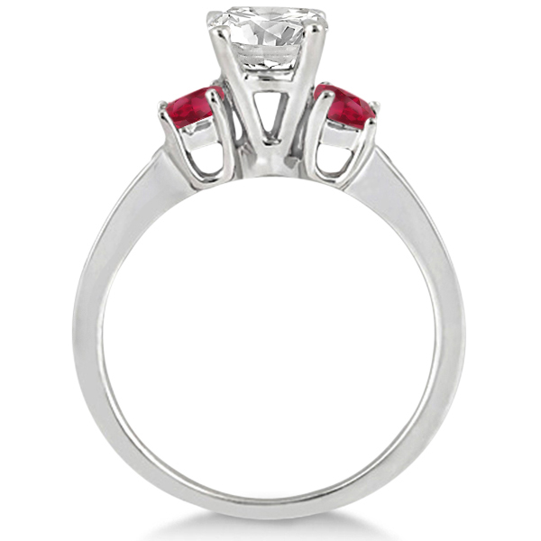 Princess Cut Diamond & Ruby Engagement Ring 14k White Gold (0.68ct)