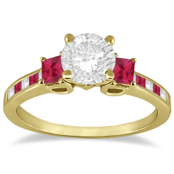 Princess Cut Diamond & Ruby Engagement Ring 14k Yellow Gold (0.64ct)