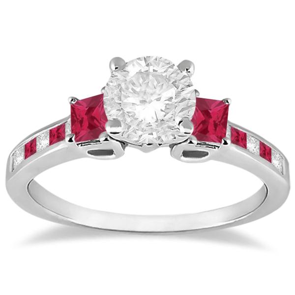 Princess Cut Diamond & Ruby Engagement Ring 18k White Gold (0.68ct)